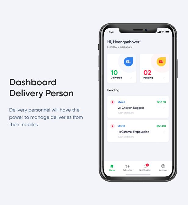 Dashboard Delivery Person